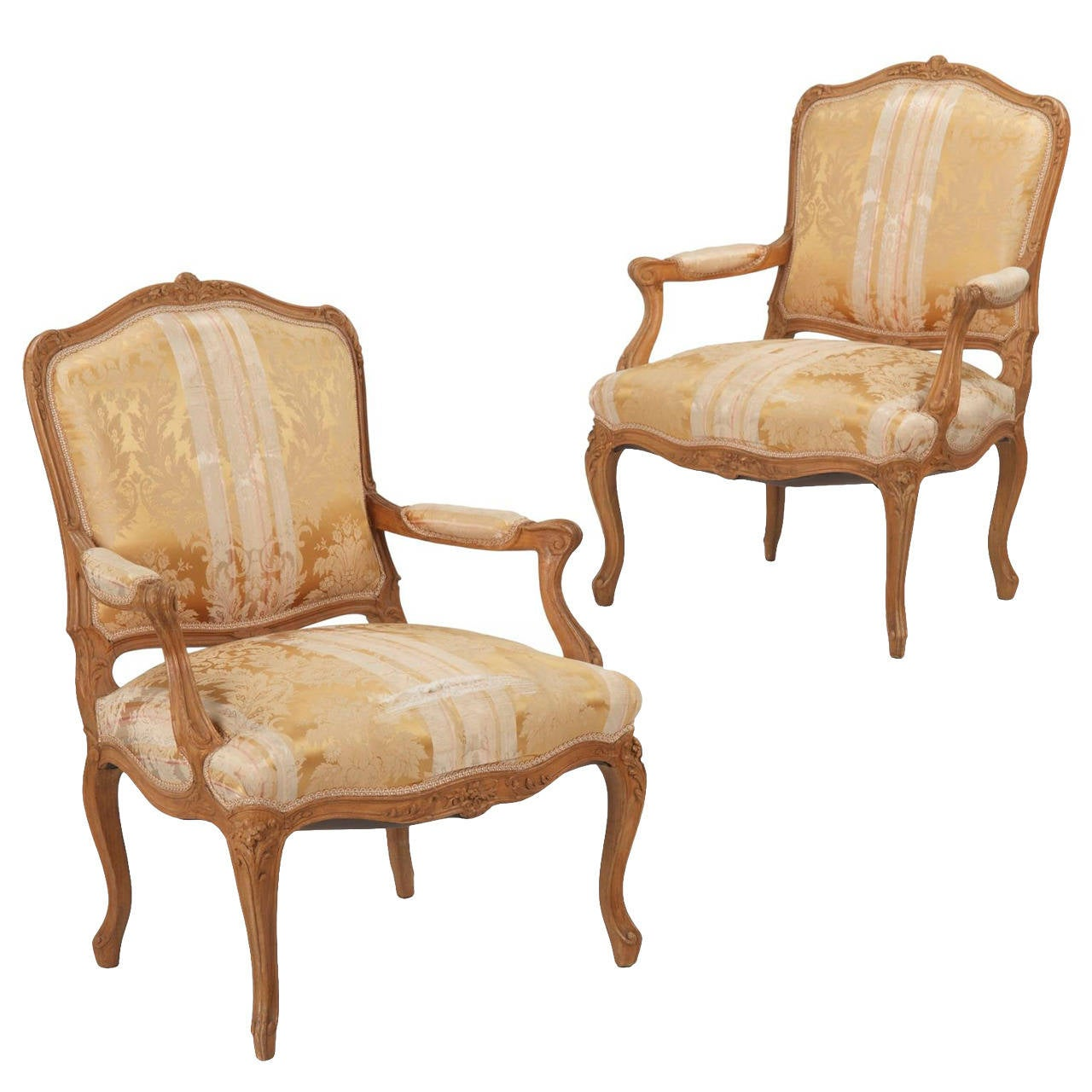 pair of french louis xv style antique beechwood fauteuils. Black Bedroom Furniture Sets. Home Design Ideas