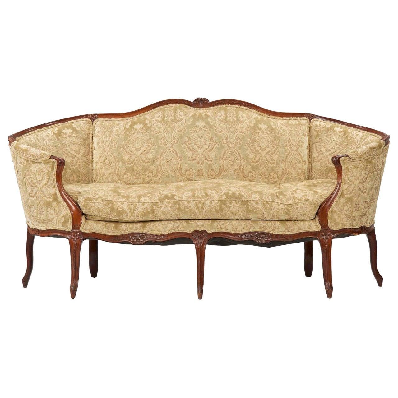 French furniture sofa - Fine French Louis Xv Period Walnut Antique Canap Settee Sofa Circa 1750 1