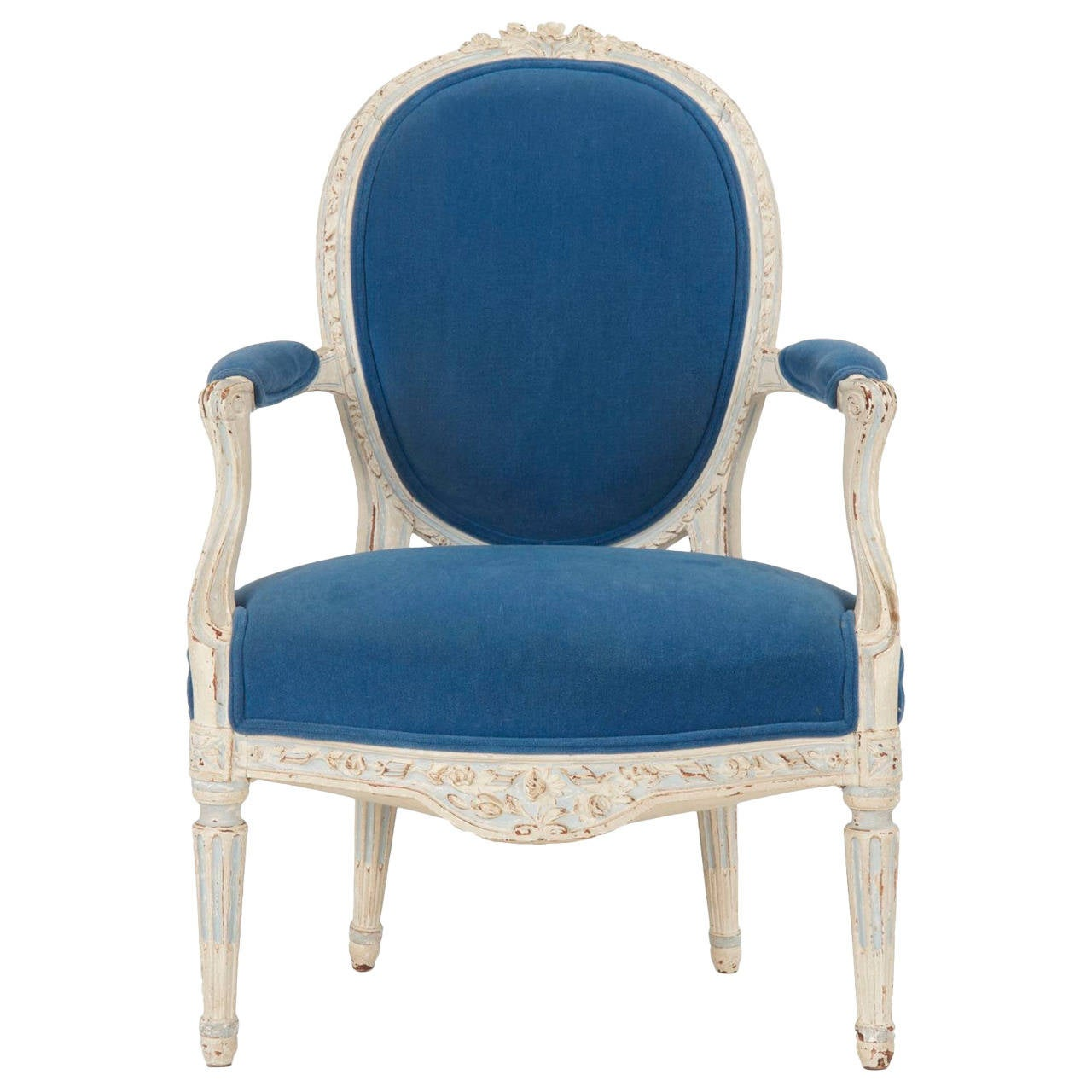 french louis xvi painted antique fauteuil late 18th century at 1stdibs. Black Bedroom Furniture Sets. Home Design Ideas