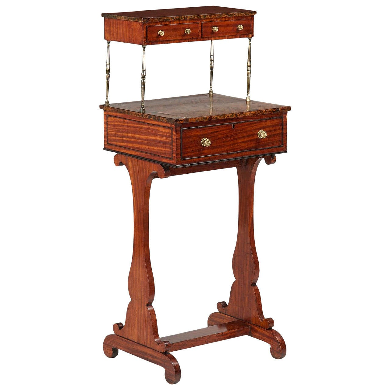 Petite English Regency Mahogany and Burl Walnut Writing Desk, 19th Century