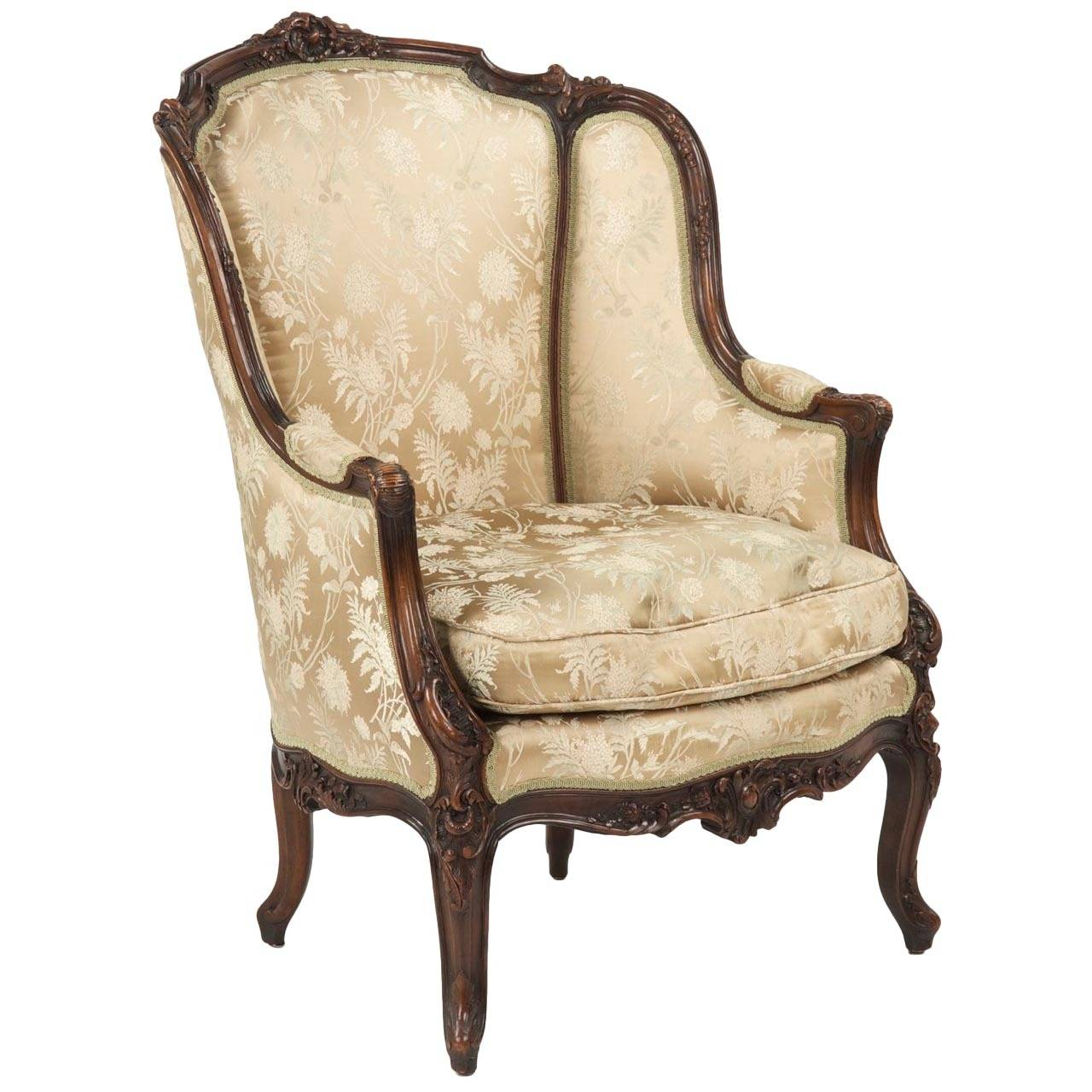 19th Century Rococo Revival Antique Bergere Armchair in