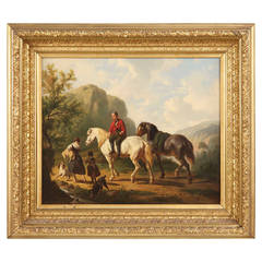 Dutch School 19th Century Antique Painting of Horses and Figures