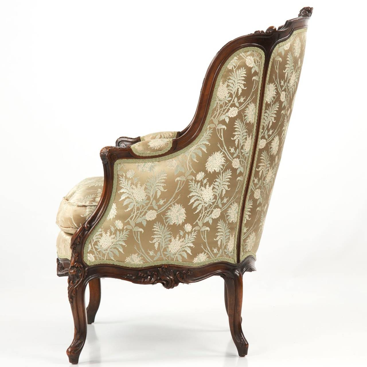 19th Century Rococo Revival Antique Bergere Armchair In Louis Xv Taste At 1stdibs