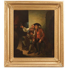 German School 19th Century Antique Oil Painting of Winemaker and Patron