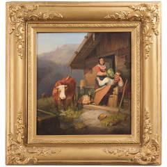 Sebastian Habenschaden Antique Oil Painting of an Alpine Scene, Signed