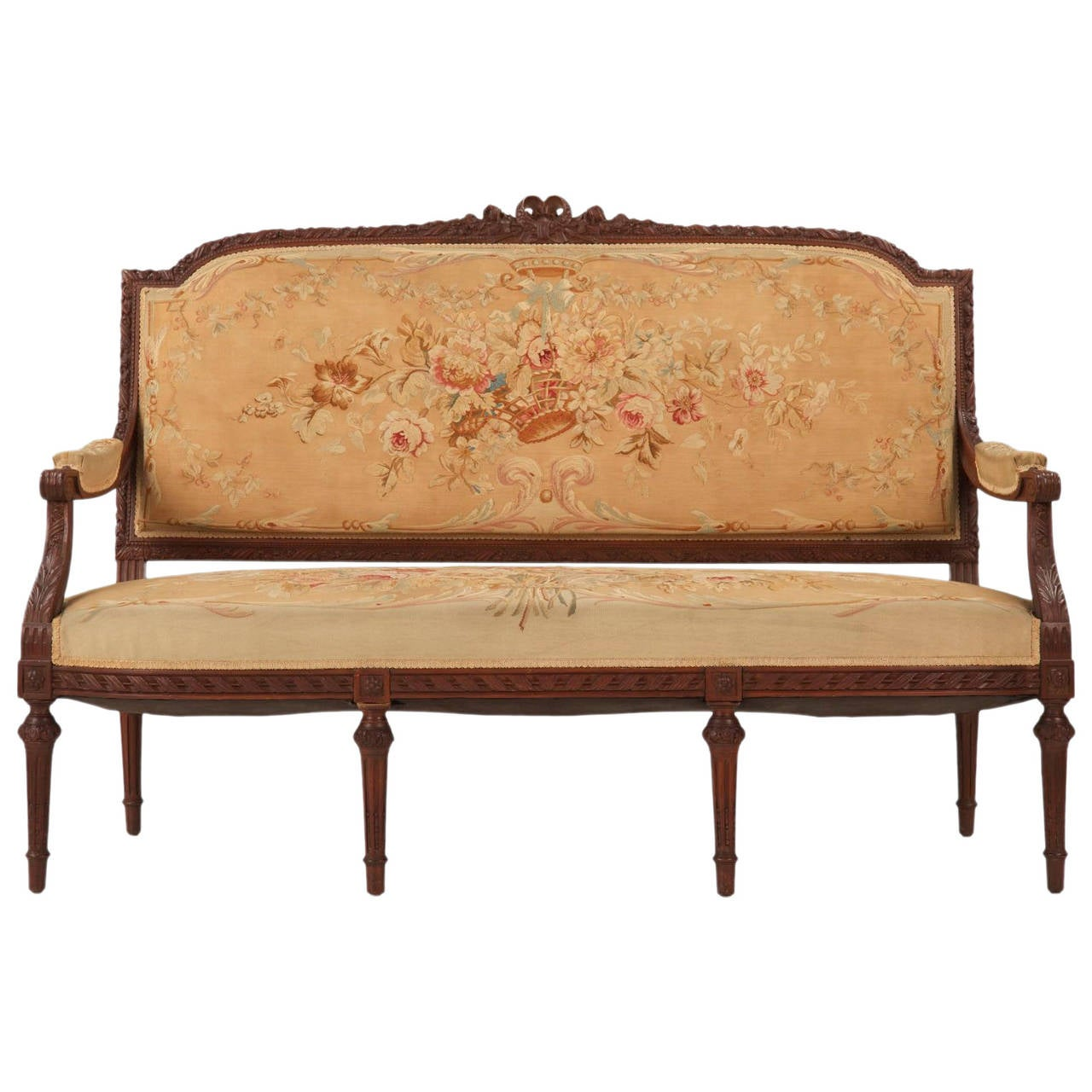 French louis xvi style settee w original aubusson for Settees for sale