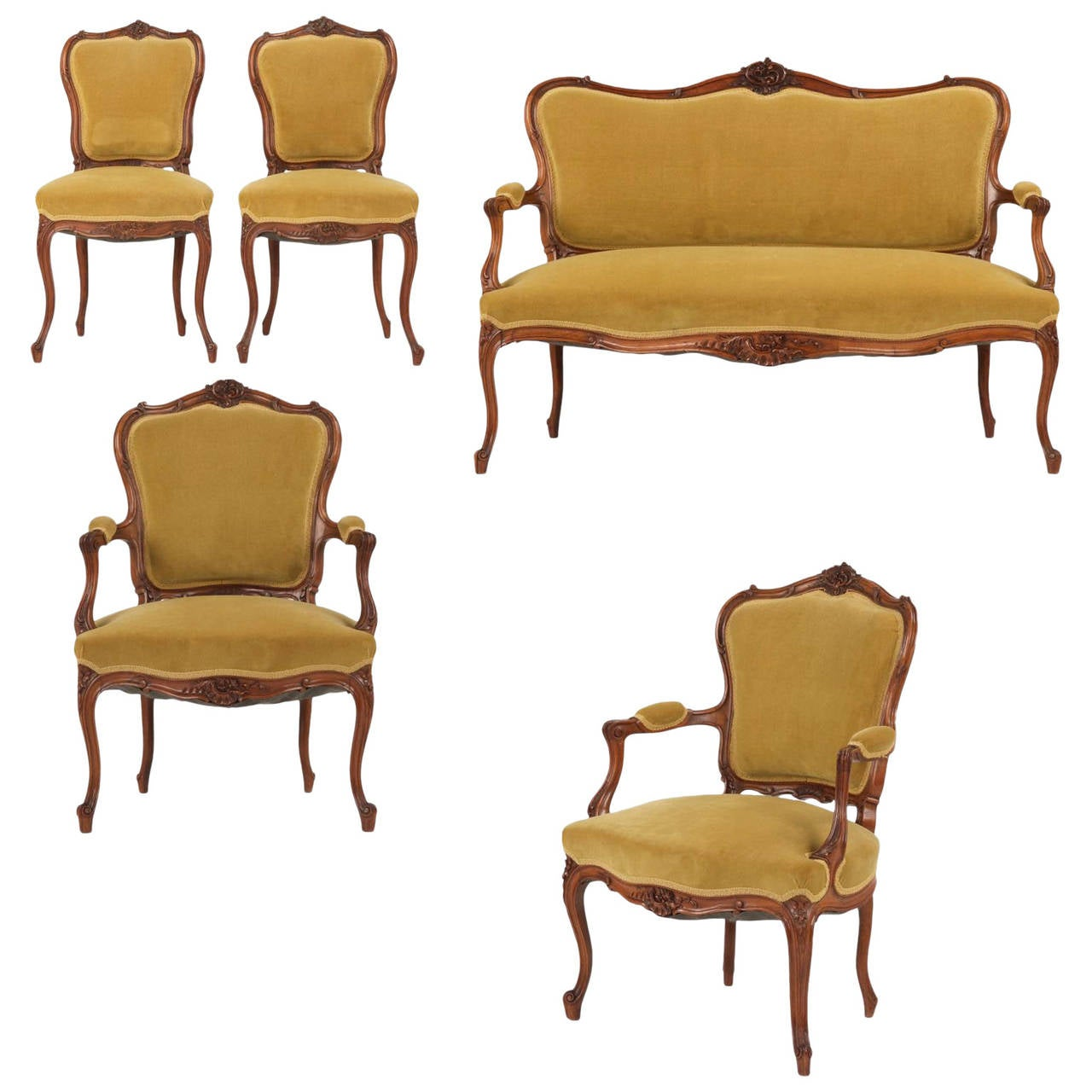 Rococo revival furniture - Rococo Revival Walnut Parlor Suite With Settee And Four Chairs 19th Century 1