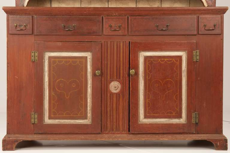 American 19th Century Painted Two Part Antique Cupboard Cabinet, Pennsylvania 3