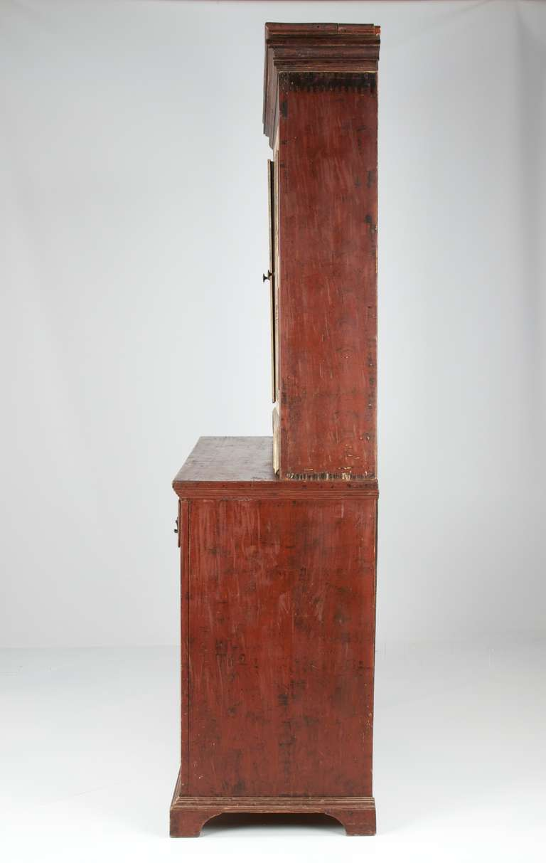 Folk Art American 19th Century Painted Two Part Antique Cupboard Cabinet, Pennsylvania