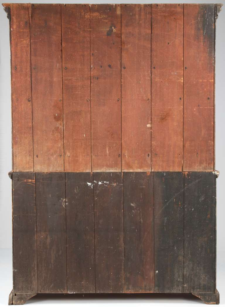 American 19th Century Painted Two Part Antique Cupboard Cabinet, Pennsylvania In Excellent Condition In Shippensburg, PA
