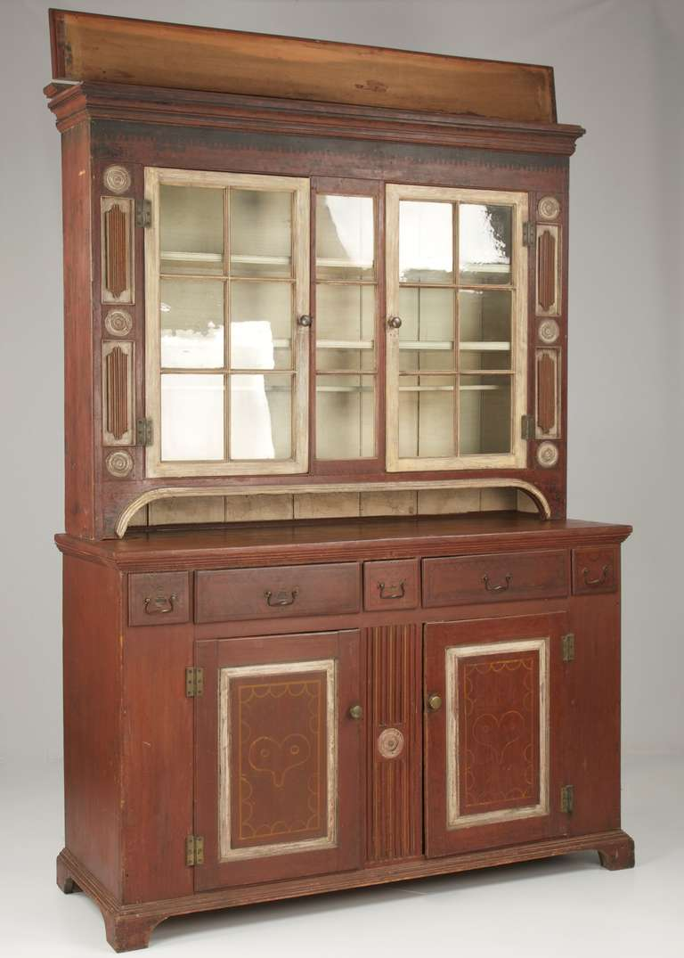American 19th Century Painted Two Part Antique Cupboard Cabinet, Pennsylvania 1