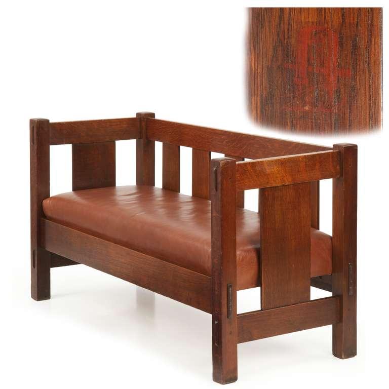 American Gustav Stickley Mission Oak Hall Settee Sofa Bench 205 C 1905 12