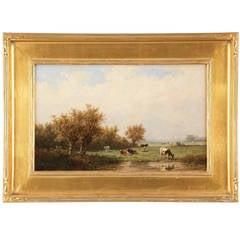 Dutch Barbizon Landscape Painting of Cattle by Anthonie Jacobus van Wyngaerde