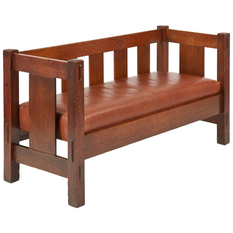 Superior Gustav Stickley Mission Oak Hall Settee Sofa Bench # 205 C. 1905 12 1