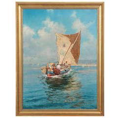 "Fausto Giusto (Italian, 1867-1941), ""Fishermen at Sea"", Antique Painting"