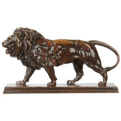 """After Antoine-Louise Barye French Bronze Sculpture """"Lion Qui Marche"""""""