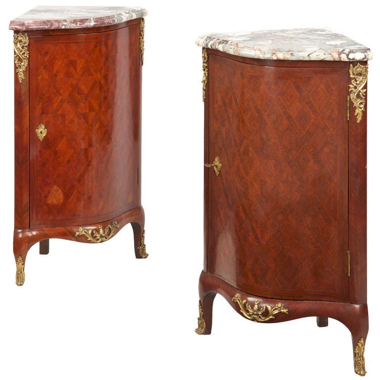 19th Century Pair of Fine French Louis XV Style Antique Corner Cabinets Consoles