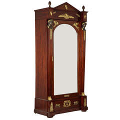 Exceptional French Empire Gilt & Patinated Bronze Mahogany Antique Armoire