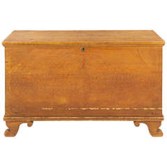 American Antique Ochre Painted Blanket Chest over Scrolled Feet, Pennsylvania