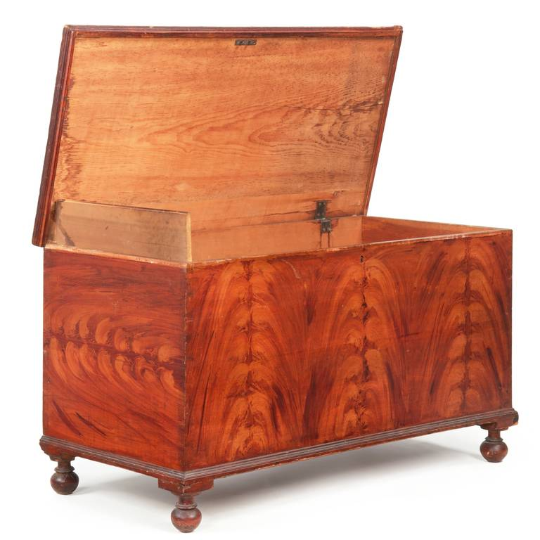 This Is A Very Fine And Remarkably Well Preserved American Blanket Chest  With A Delightful Flame