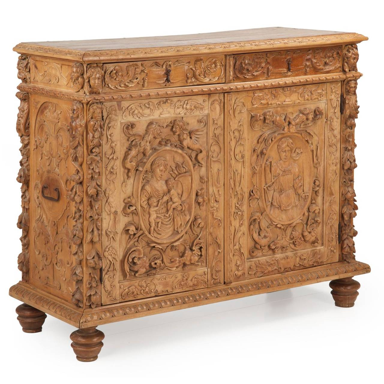 Continental carved beechwood antique cabinet in baroque for Carved kitchen cabinets