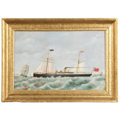 19th Century Nautical Oil Painting on Panel of British Steamboat and Ships