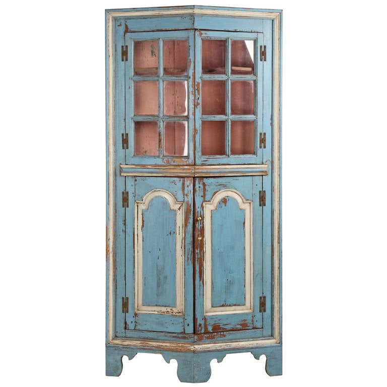 American Chippendale Turkey Breast Antique Corner Cupboard