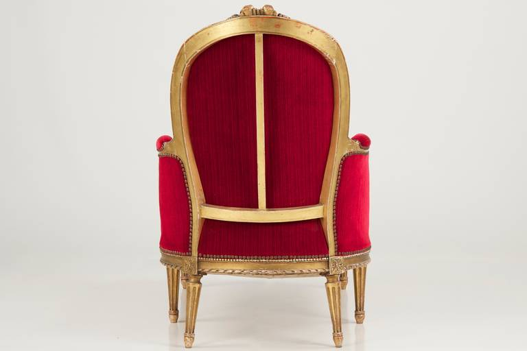 French louis xvi carved gilt chaise lounge c 1900 at 1stdibs for Chaise louis xvi