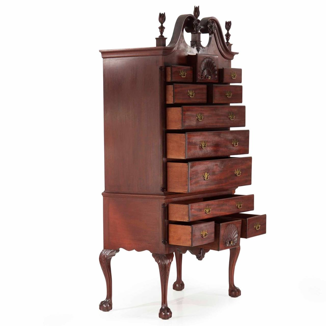 American Chippendale Style Antique Highboy Chest of