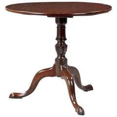 English George III Mahogany Tilt-Top Antique Tea Table, Late 18th Century