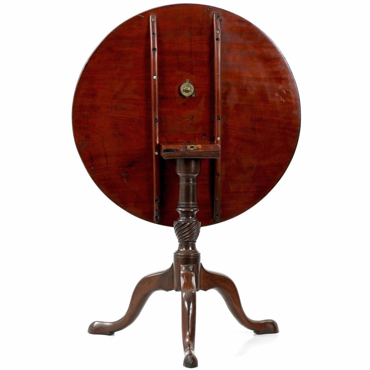 English George Iii Mahogany Tilt Top Antique Tea Table