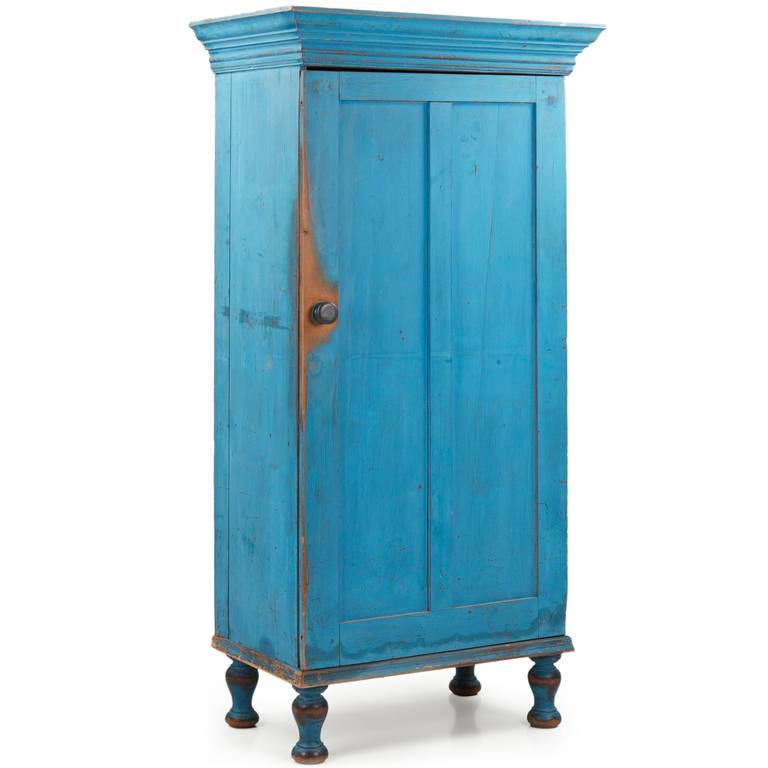 folk art exceptional pennsylvania blue painted antique cupboard cabinet 19th century for sale - Antique Cupboard