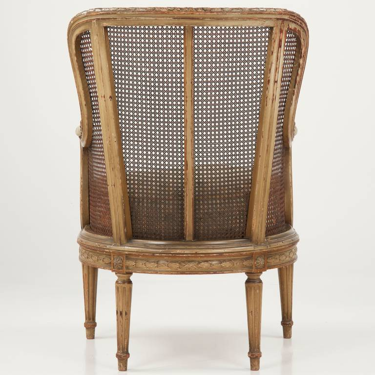 Finely Carved French Louis XVI Style Antique Bergere Arm Chair c. 1890 In  Distressed Condition - Finely Carved French Louis XVI Style Antique Bergere Arm Chair C