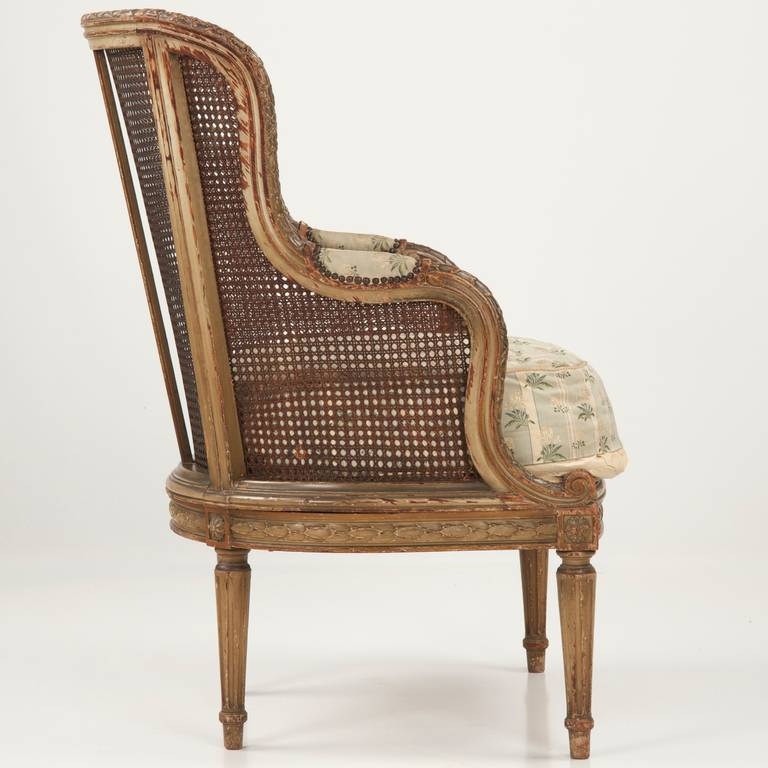 Finely Carved French Louis Xvi Style Antique Bergere Arm