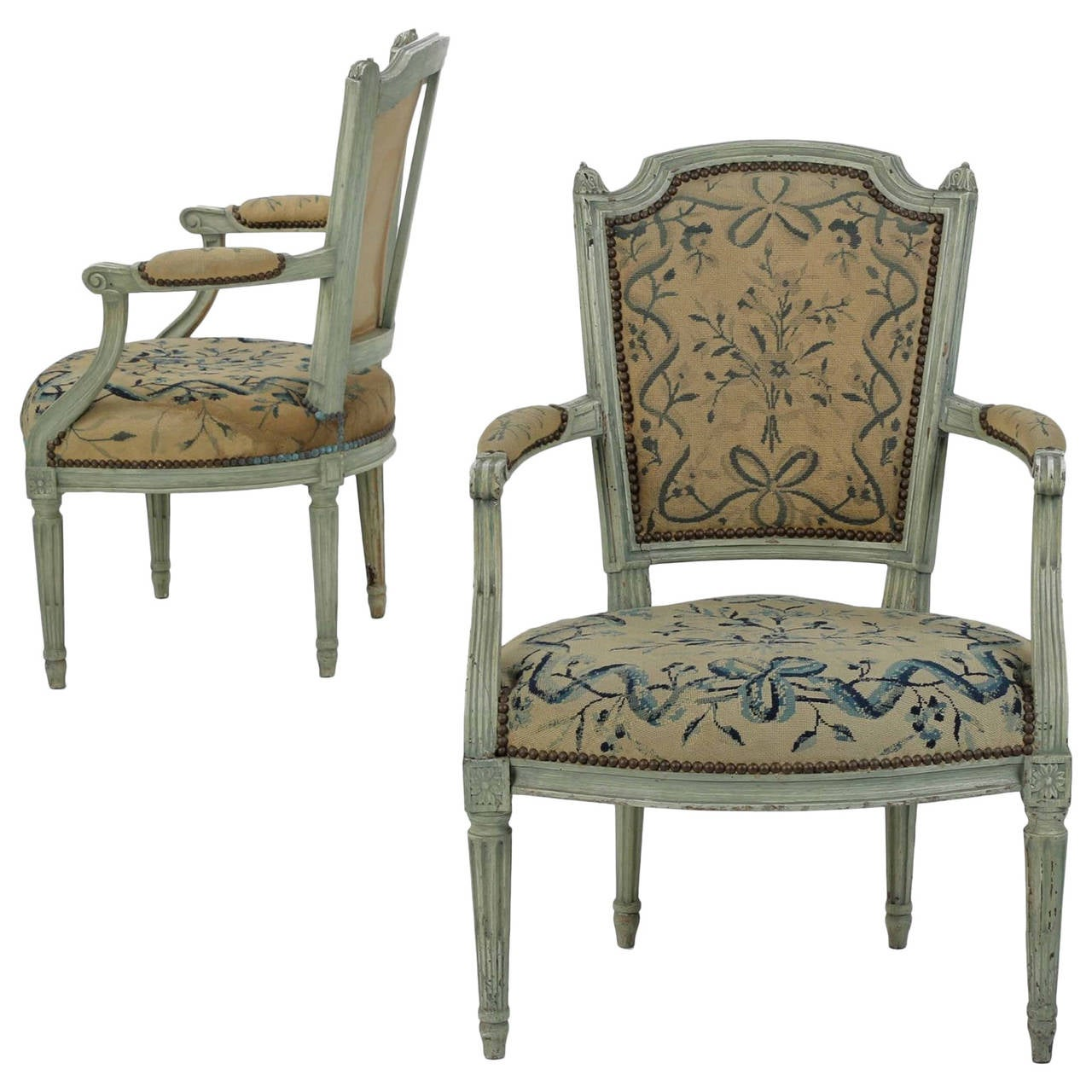 pair of french louis xvi style painted antique fauteuil armchairs 19th century at 1stdibs. Black Bedroom Furniture Sets. Home Design Ideas