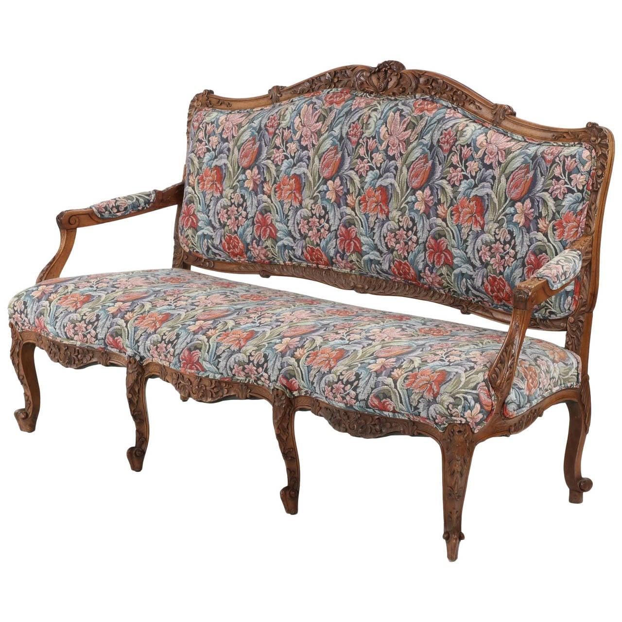 Rococo revival furniture - Rococo Revival Antique Carved Walnut Settee Sofa In Louis Xv Taste 19th Century 1