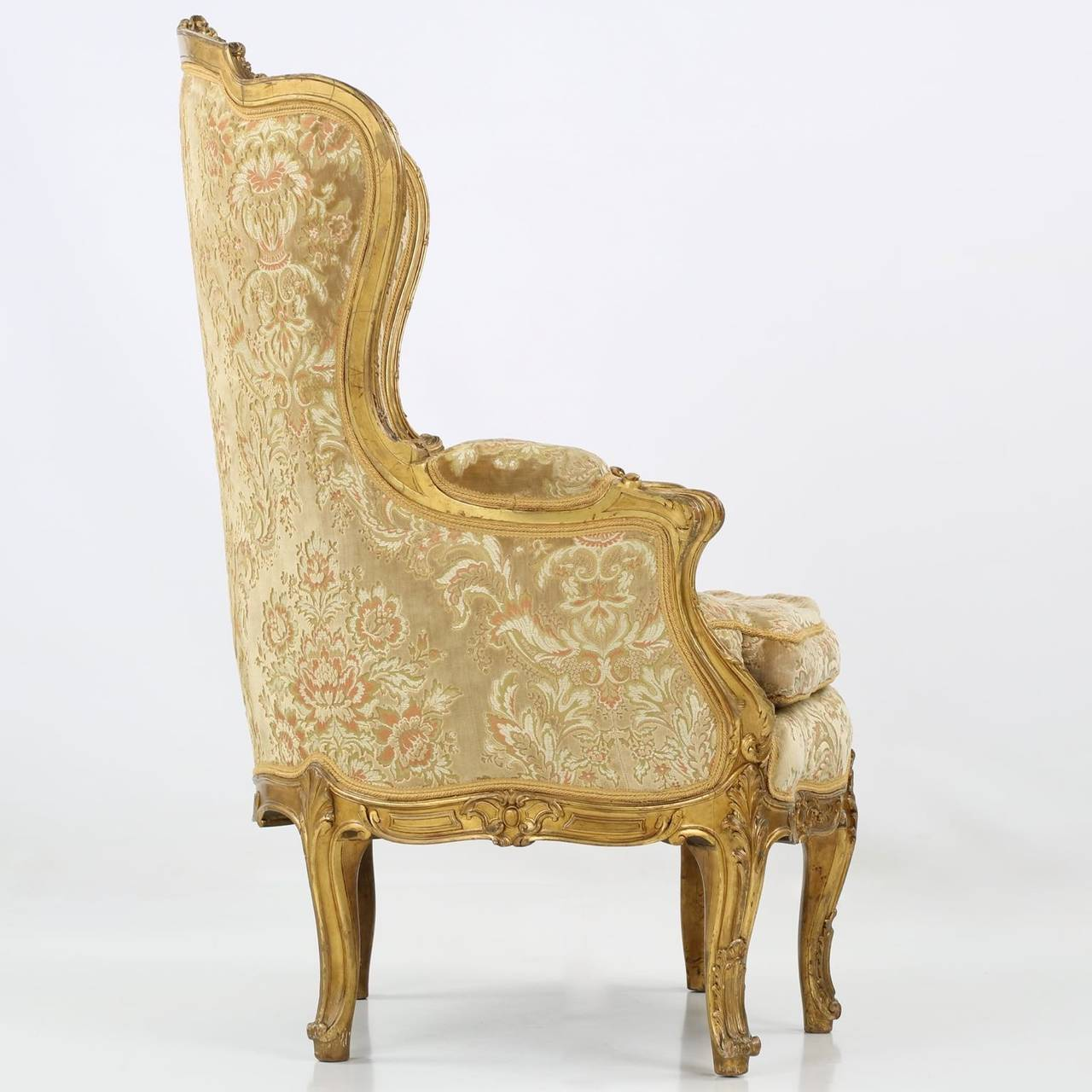 Antique bergere chair - Louis Xv Style Carved Giltwood Antique Bergere Armchair Circa 1870 3