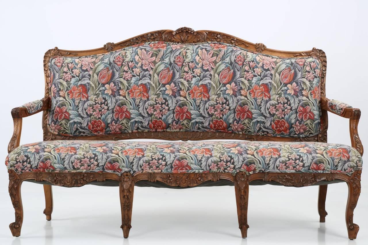 Rococo revival furniture - Rococo Revival Antique Carved Walnut Settee Sofa In Louis Xv Taste 19th Century 2