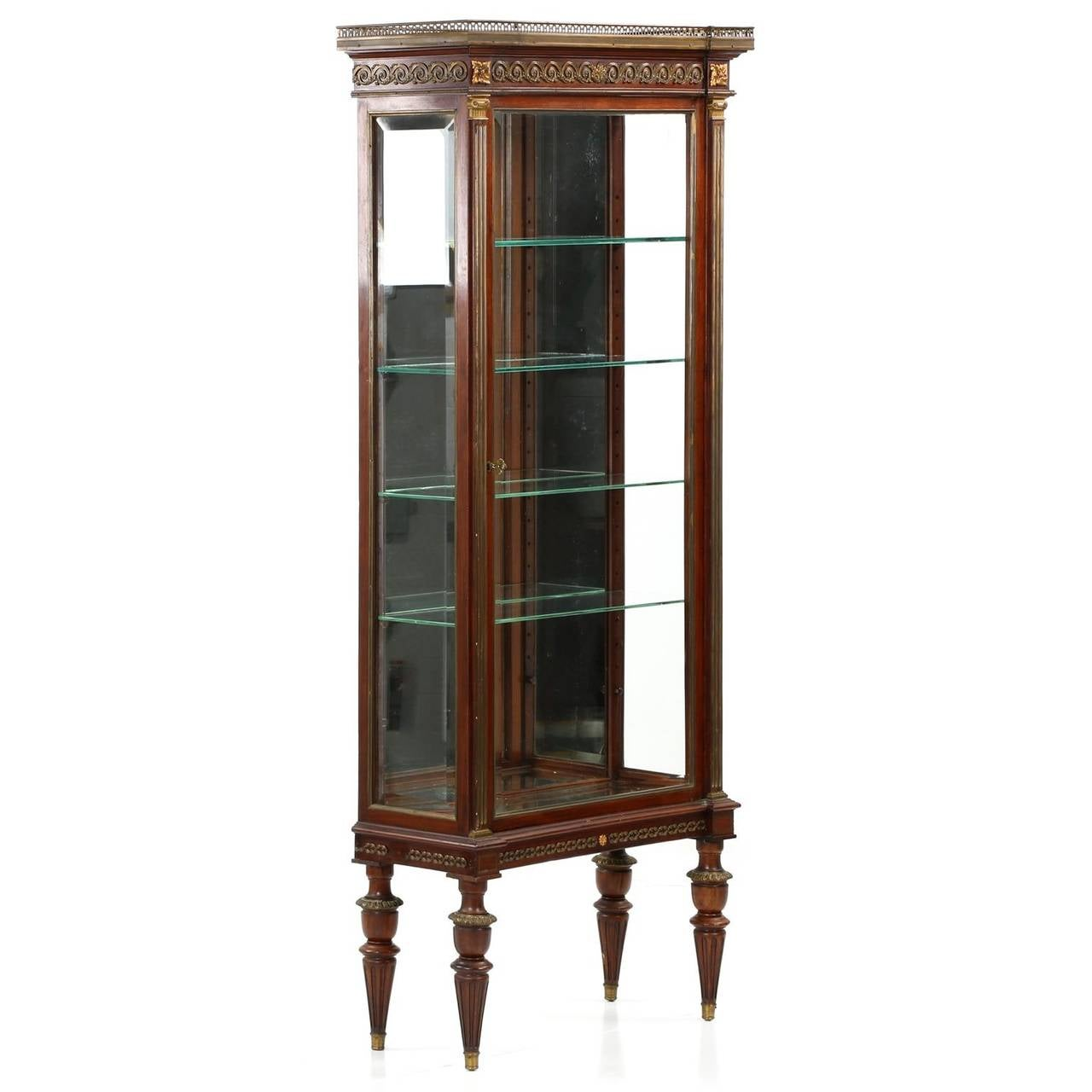 French Louis XVI Style Mahogany Gilt Bronze Vitrine Display Cabinet, circa  1900 2 - French Louis XVI Style Mahogany Gilt Bronze Vitrine Display