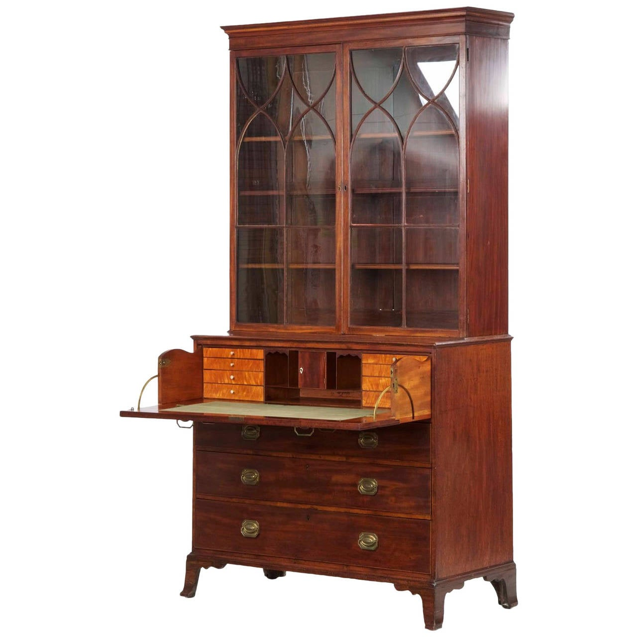 English George III Mahogany Antique Secretary Desk with Bookcase, circa  1790 1 - English George III Mahogany Antique Secretary Desk With Bookcase