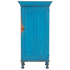Exceptional Pennsylvania Blue Painted Antique Cupboard Cabinet, 19th Century