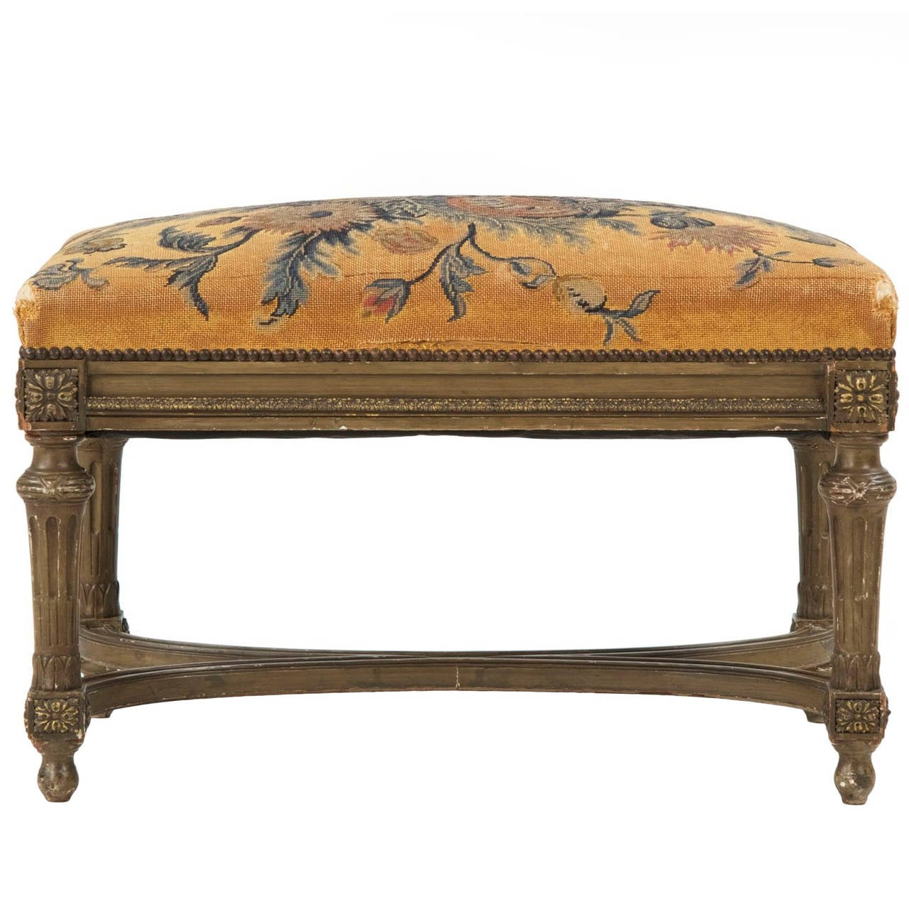 French Louis XVI Style Painted Antique Foot Stool Ottoman, 19th Century 1