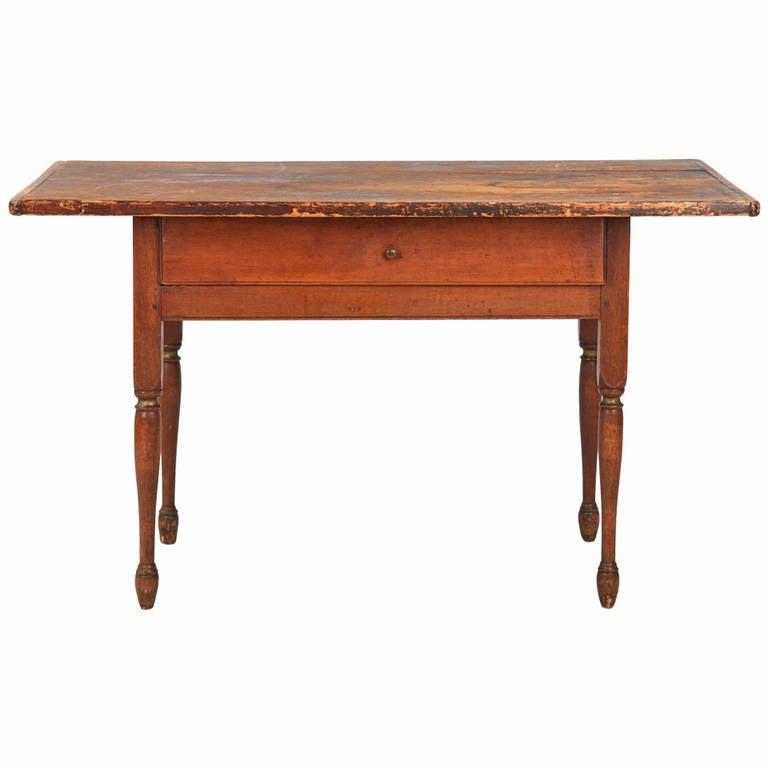American Scrubbed Top Farm or Harvest Antique Table, New Hampshire, circa 1830