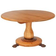 Continental Empire Circular Antique Dining Table in Gustavian Taste