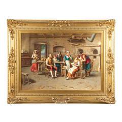 "Francesco Peluso Antique Oil Painting, ""Indiscretions"", Signed"