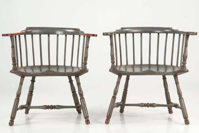pair of american painted lowback windsor antique chairs early 20th