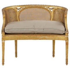 Small French Louis XVI Style Giltwood Upholstered Settee or Marquise c. 1900