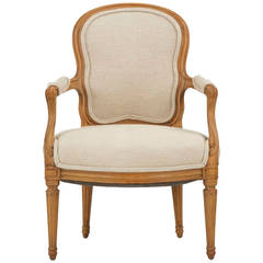 French Louis XVI Beechwood Antique Armchair Fauteuil, Early 19th Century