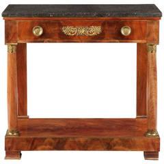 French Empire Ormolu Mounted Mahogany Antique Pier Table, circa 1815