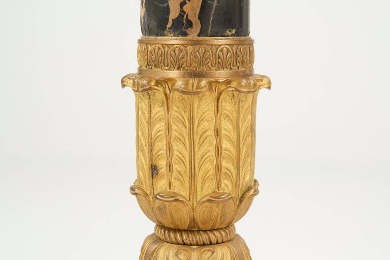 French Empire Gilt Bronze Torchiere Antique Lamp, circa 1900 For Sale 1